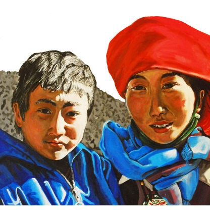 Brother and sister. Zhongdian, Yunnan, China.