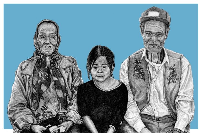 Family portrait, Behchoko, Tlicho Territory, NWT, Canada