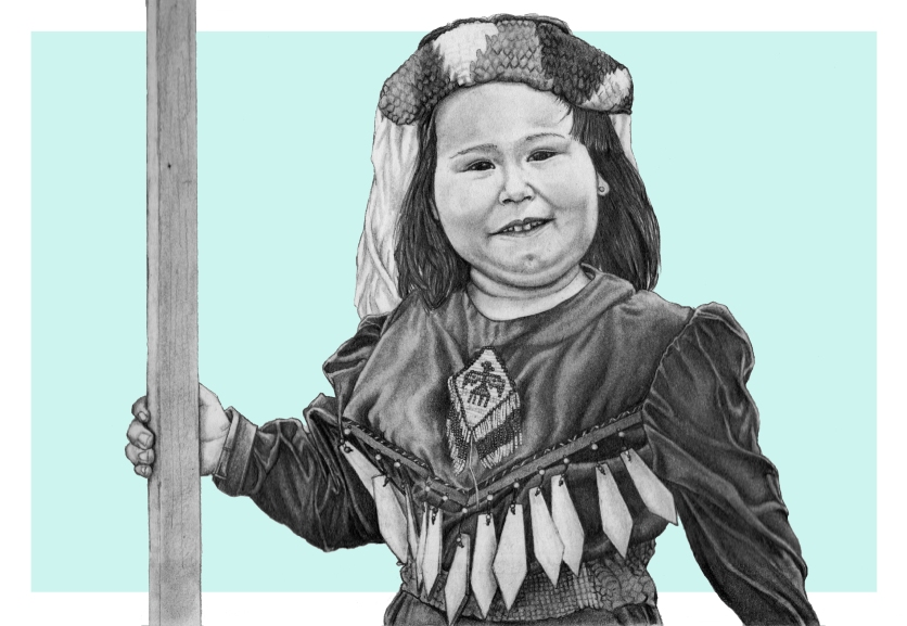 Young girl from the Tsleil-Waututh Nation, Unceded Coast Salish Territory (Vancouver. B.C.)